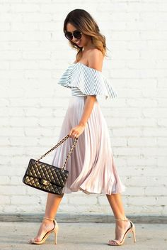 summer outfit, party outfit, date night outfit, valentine's day outfit, night out outfit, summer fashion, street chic style - striped off the shoulder top, blush pleated skirt, pale pink pleated skirt, nude sandals, black shoulder bag, black sunglasses