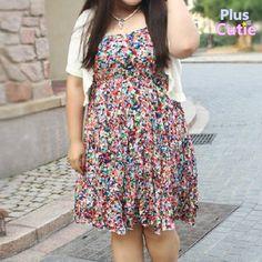 Plus size summer floral strap dress free ship sp140873