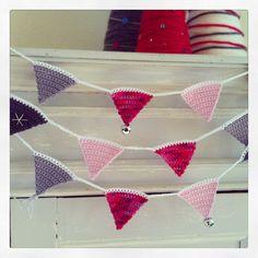 Kerst, slinger, vlaggetjes, haken, christmas, crochet