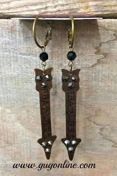 Save 10% by use the discount code GUGREPKCAR at www.gugonline.com! Fearless Crystal Arrow on Black and Bronze Earrings $28.95