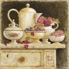 The following collection include Still-life paintings in vintage style by French painter Eric Barjot.