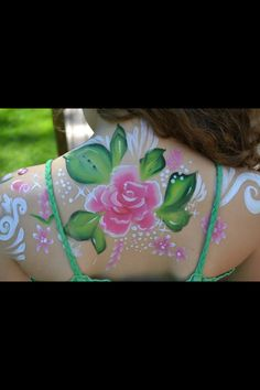 Flower back face painting