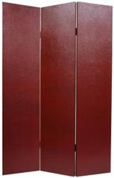 6 ft. Tall Faux Leather Burgundy Crocodile Room Divider Screen