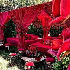 Red Wedding Reception Decor-red flowers, red drapes, and private seating area. Wedding Stage Decorations, Bridal Shower Decorations, Hall Decorations, Red Bridal Showers, Red Photography, Wedding Photography, Wedding Mandap, Wedding Receptions, Red Rooms