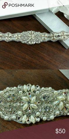 Bridal belt Pearl and rhinestone ivory belt Accessories Belts