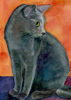 ACEO ATC Siri Russian Blue Cat on Orange - Print of a Watercolor  - Belinda DelPesco