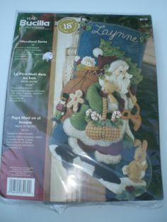 Bucilla WOODLAND SANTA Stocking Felt Applique Christmas Kit  Bunny Rabbit 2005