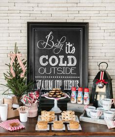 """""""Baby It's Cold Outside"""" Coffee + Dessert Bar with FREE Printable Poster   The TomKat Studio for Coffee Mate Poster Designed by @pnpflowers Christmas 2016, Simple Christmas, Christmas Wedding, Beautiful Christmas, Christmas Parties, Rustic Christmas, Christmas Foods, Christmas Stuff, Christmas Ideas"""