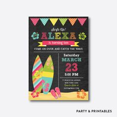 Luau Surf Birthday Invitation Surfing Invitation by everjolly Luau Invitations, Personalized Invitations, Luau Birthday, 12th Birthday, Luau Pool Parties, Hawaian Party, Surfer, Party Needs, Tropical Party