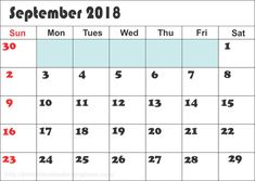 Calendar of September 2018 Printable Monthly Template - Free June 2020 Calendar Printable Blank Templates & Holidays September Calendar Printable, September Calendar 2018, Excel Calendar Template, Calendar Notes, Printable Calendar Template, Pdf Calendar, Monthly Calendars, Calendar 2020, Holidays