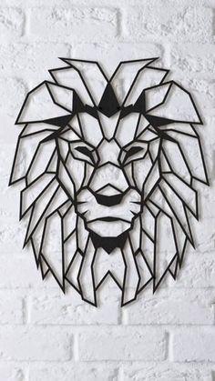 Geometric Shapes Art, Geometric Lion, Geometric Drawing, Afrique Art, Shape Art, Art Mural, Wire Art, String Art, Pattern Art