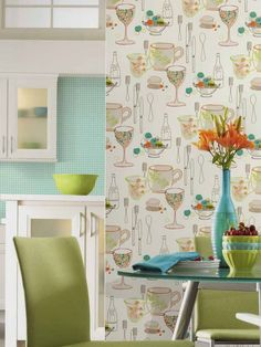 1000 images about 70 39 s kitchen bliss on pinterest 70s for Lime kitchen wallpaper