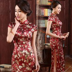 Shop elegant silk cheongsam, traditional Chinese red bridal dresses, sexy modernize Qipao from www.ModernQipao.com. Save 6% by share our products. Cap sleeve brick red long floral silk wedding cheongsam