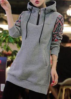 Zipper Design Printed Grey Long Hoodie  on sale only US$33.90 now, buy cheap Zipper Design Printed Grey Long Hoodie  at lulugal.com