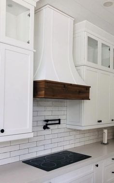 Epicurean / Artisan Style Hood with Strapping & a Rustic Apron - Comes Raw! Kitchen Hood Design, Kitchen Vent Hood, Kitchen Stove, Kitchen Range Hoods, Hoods Over Stoves, Stove Hoods, Rustic Aprons, Wood Hood Vent, Oven Hood