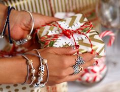 Getting ready for a festive night #PANDORAbracelet #Christmaspresent #Gift #Perfectwrapping by blogger Vivaluxury