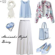 Baby blue shirt, white skirt, white scarf, baby blue shoes and bag, floral…