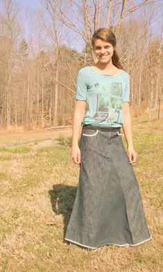 Beautiful ExtraLong Jean Skirt Size 8/10 by LittleSouthernDarlin