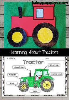 Tractor craft template and worksheet activities (labeling, description, writing) - Fairy Poppins