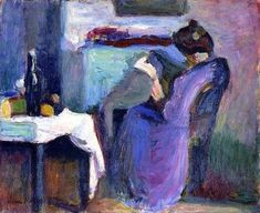 Henri Matisse, La letricce in abito viola on ArtStack #henri-matisse #art
