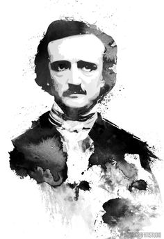 EDGAR ALLAN POE gothic macabre horror author of The Raven black and white watercolors Pop Art style portrait Edgar Allan Poe, Edgar Allen Poe Tattoo, Caricatures, 7 Arts, Art Pictures, Photos, Science Fiction, Gothic Art, Gothic Horror