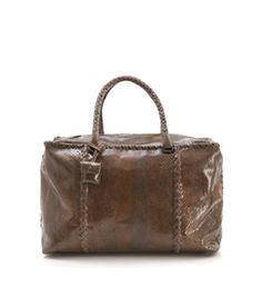 Brown large rectangular brick bag in python. Zipped top. Two top handles. Small python button pouch for lock and key. Suede lining. One zipped inside pocket and mobile holder. Width measures 16in/40.5cm, length measures 10in/25.5cm, depth measures 8in/20cm, handle length 18in/46cm. One size. Python. #MATCHESFASHION