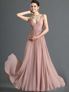 Simple Prom Dresses A Line V Neck Floor Length Chiffon Cheap Under 100 USD 119.99 LPH1BMF47 - Labeautes.com