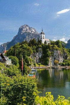 Church, Traunkirchen, Traunsee lake, Upper Austria, Austria by padamsphoto… Most Romantic Places, Beautiful Places To Travel, Beautiful World, Romantic Destinations, Vacation Destinations, Places Around The World, The Places Youll Go, Farmhouse Paintings, World View