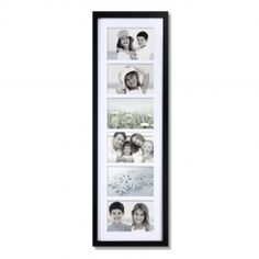Adeco Decorative Black Wood Wall Hanging Picture Photo Frame with Mat, 6 Openings, 4x6""