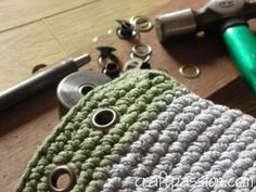 How to ~ installing round metal eyelets in crochet