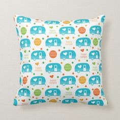 Shop Happy Camper Pillow - Aqua created by SunnyMorningDesigns. Used Campers, Happy Campers, Lumbar Pillow, Throw Pillows, Camping Pillows, Custom Pillows, Aqua, Rv Life, Airstream