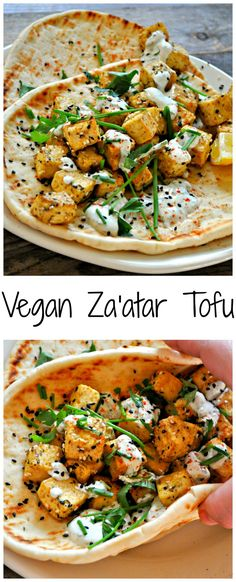 This vegan Za'atar tofu with herb yogurt sauce is incredible. Baked Middle Eastern spiced tofu, drizzled with the best yogurt sauce, served with flat bread! Vegan Keto, Vegan Foods, Vegan Dishes, Raw Vegan, Vegan Meals, Vegan Life, Tofu Dishes, Vegan Baking, Vegan Nutrition