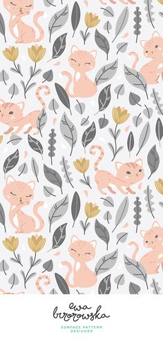 Nice Oh, hello cats -cute vector textile pattern design - light grey, coral and gold. iPhone X Wallpaper 150518812530814462 - iPhone X Wallpapers Textile Pattern Design, Surface Pattern Design, Textile Patterns, Pattern Art, Print Patterns, Cat Pattern Wallpaper, Cat Wallpaper, Wallpaper Backgrounds, Wallpapers