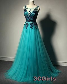 Beautiful deep green tulle custom size modest prom dress, evening dress, prom dresses long
