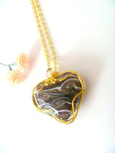 Brown Swirl Murano Glass Heart Wire by CrystalBeadedDesigns