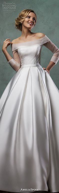 Amelia Sposa 2016 wedding dresses off the shoulder tulle neckline three quarter 3/4 sleeves satin A-line ball gown dress