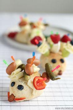 Käseigel-Brötchen tolle Idee für die Kinderparty