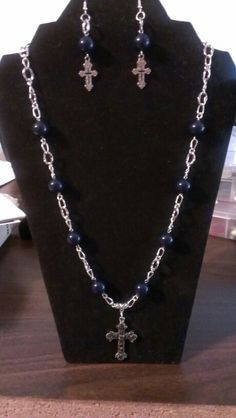 Navy blue beads with cross pendant necklace and earrings...$24 Blue Beads, Cross Pendant, Crosses, Angels, Navy Blue, Pendant Necklace, Chain, Diamond, Earrings