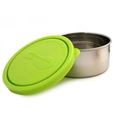 U-Konserve Kids Konserve Medium Round Container - Stainless stain containers are leak-proof and therefore the perfect lunch solution for packing yogur Stainless Steel Containers, Lunch Containers, Insulated Lunch Bags, Glass Bottles, Fruit Salad, Yogurt, Lime, Canning, Green