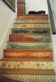 """really cute idea..(ok ok..yes i did my stair's on dunbarton street...)so i am partial to this...i love the random..stencils..i didn't have the """"guts""""to do it that way..but i did love it(i went through a major """"stencil phase)"""