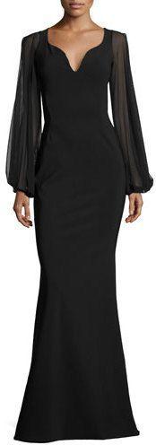 Chiara Boni La Petite Robe Dree Long-Sleeve Butterfly Mermaid Gown, Black