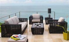 """code: Dimension L x W x H ( cm ) """"Poly rattan sofa set Flat fiber Alu frame, cushion 10 cm, water resistant fabric 250 gr"""" L W H 1 seater sofa ( 90 90 70 3 seater sofa 190 90 70 Side table with glass- 40 40 50 Tea table with 110 60 40 Luxury Furniture, Outdoor Furniture Sets, Outdoor Decor, Skyline Design, Live Set, Rattan Sofa, Backyard, Patio, Furniture Collection"""