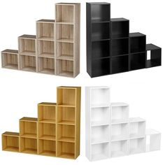 Name: DIY Combination Bookcase. 1 x Book Shelving Storage Set (size/color according to your choice). Material: Wood. Color: Green/White/Black/Wood. Combination: 3/4 Layers. | eBay!