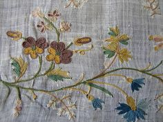 Maria Niforos - Fine Antique Lace, Linens & Textiles : Early Items # EI-20 Circa 1780's, Fine Muslin Panel w/ Tambour Work