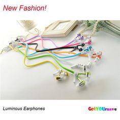 sport stereo earphone  Luminous Light Metal Headphones Zipper Earphone Glow In The Dark Earphones Headset for Iphone Samsung
