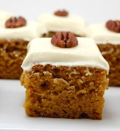 """""""Recipe For Pumpkin Bars with Cream Cheese Frosting - These moist and soft Pumpkin bars with cream cheese frosting are the perfect way to welcome fall!"""""""
