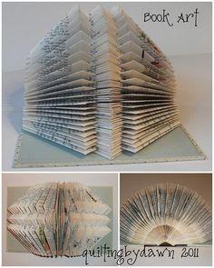 . Book Crafts, Arts And Crafts, Paper Crafts, Book Folding, Paper Folding, Paper Book, Paper Art, Altered Books, Altered Art