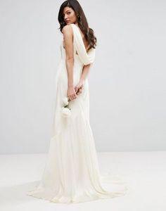 ASOS BRIDAL Cowl Back Panelled Fishtail Maxi Dress