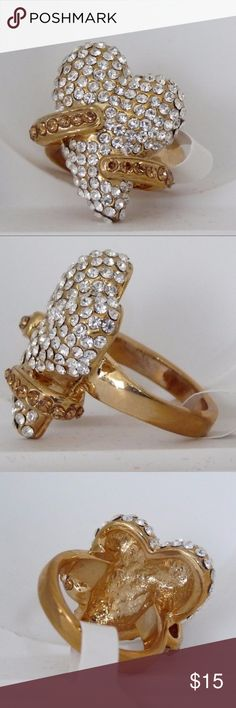 Gold Heart Ring Fashion  Gold plated heart Ring with Austrian Crystals. Jewelry Rings