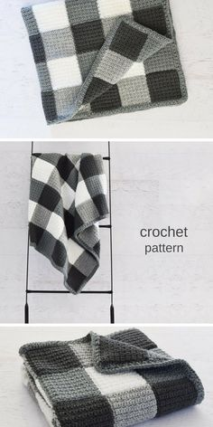 Beautiful gingham blanket crochet pattern! Love this crochet blanket - a perfect cozy gift! #crochetblanket #crochetpattern #crochet #ad
